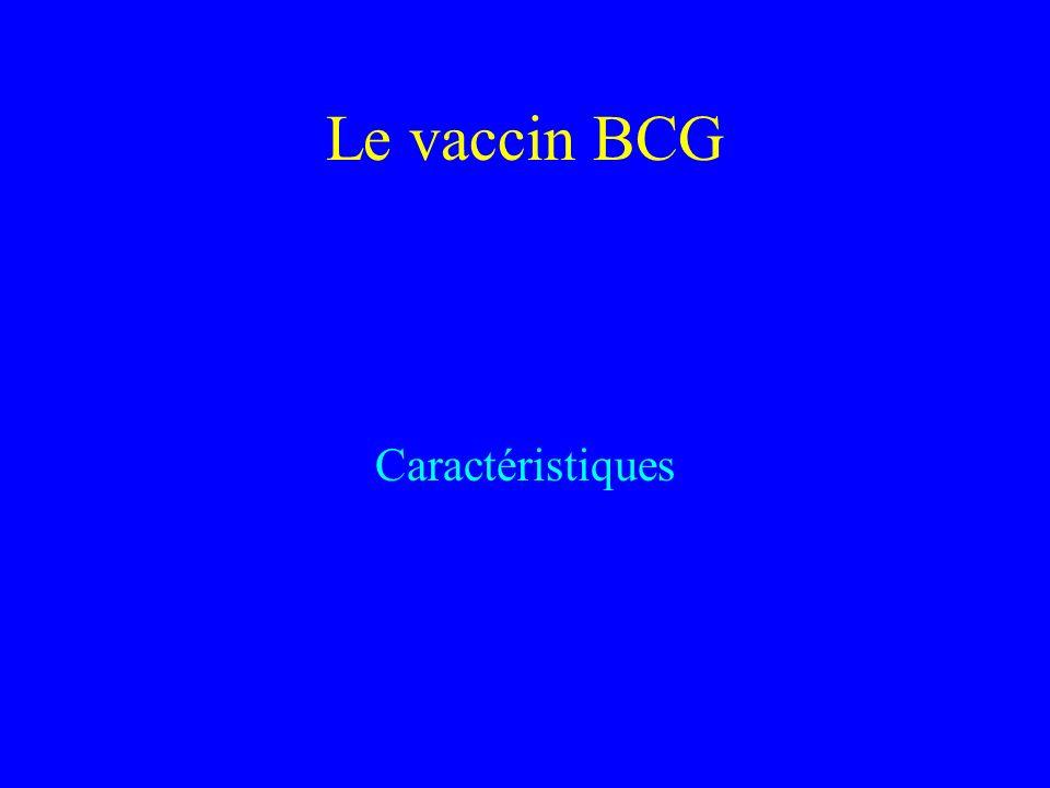 Le vaccin BCG Caractéristiques