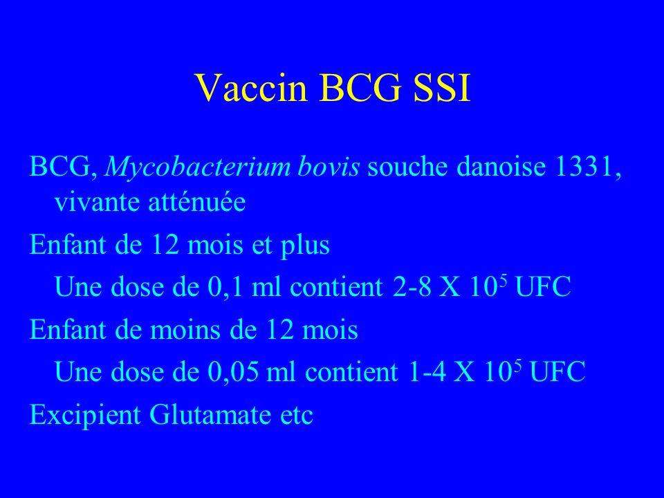 Vaccin BCG SSI BCG, Mycobacterium bovis souche danoise 1331, vivante atténuée Enfant de 12 mois et plus Une dose de 0,1 ml contient 2-8 X 10 5 UFC Enfant de moins de 12 mois Une dose de 0,05 ml contient 1-4 X 10 5 UFC Excipient Glutamate etc
