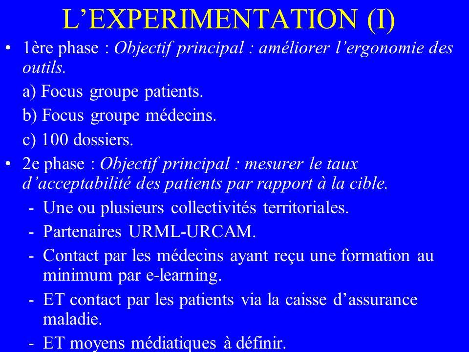 LEXPERIMENTATION (I) 1ère phase : Objectif principal : améliorer lergonomie des outils.