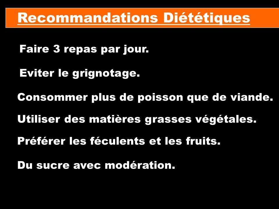 Recommandations Diététiques Faire 3 repas par jour. Eviter le grignotage. Consommer plus de poisson que de viande. Utiliser des matières grasses végét
