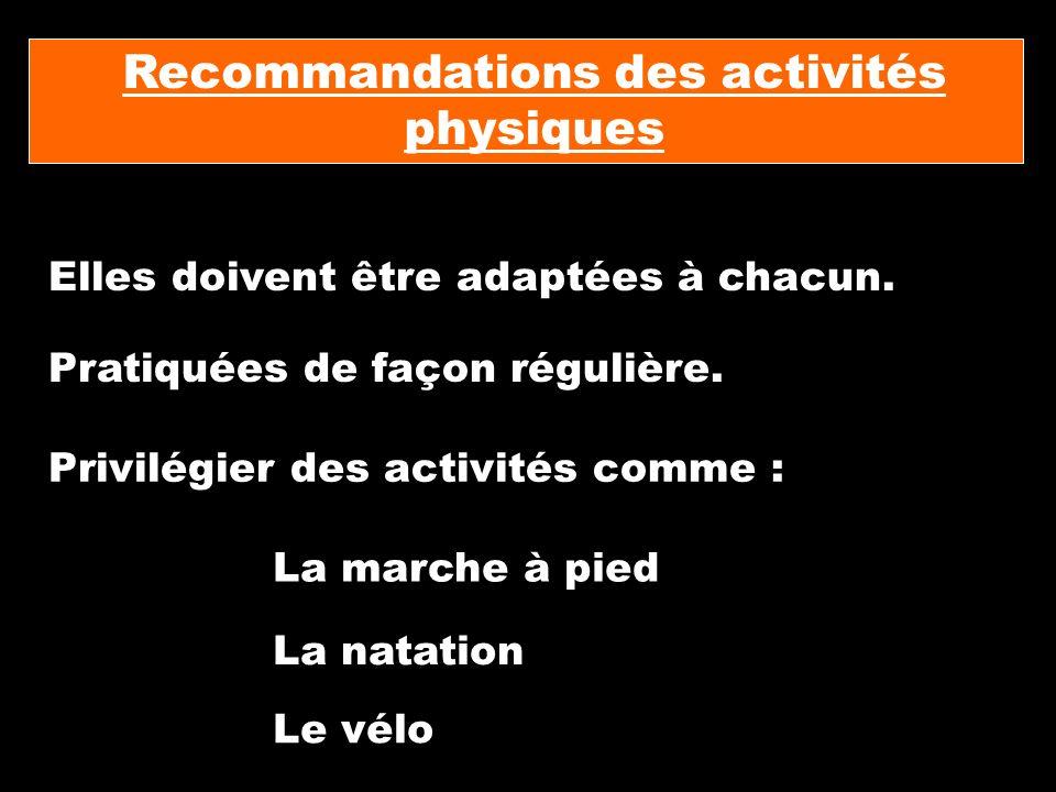 Recommandations des activités physiques Elles doivent être adaptées à chacun. Pratiquées de façon régulière. Privilégier des activités comme : La marc