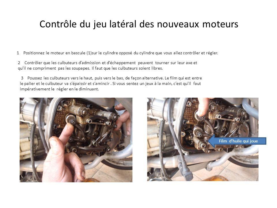 Contrôle du jeu latéral des nouveaux moteurs 1 Positionnez le moteur en bascule (1)sur le cylindre opposé du cylindre que vous allez contrôler et régl
