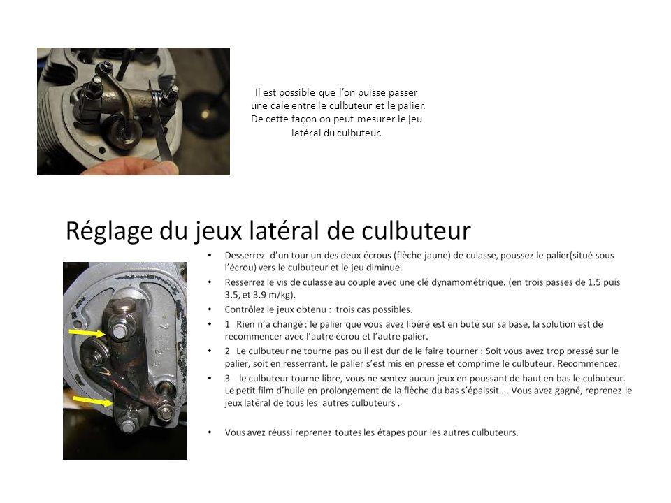 Réglage des jeux de soupapes Positionnez le moteur en dos de came(2), cest-à-dire, comprimez une soupape dadmission au maximum dun coté, réglez la soupape dadmission de lautre coté.