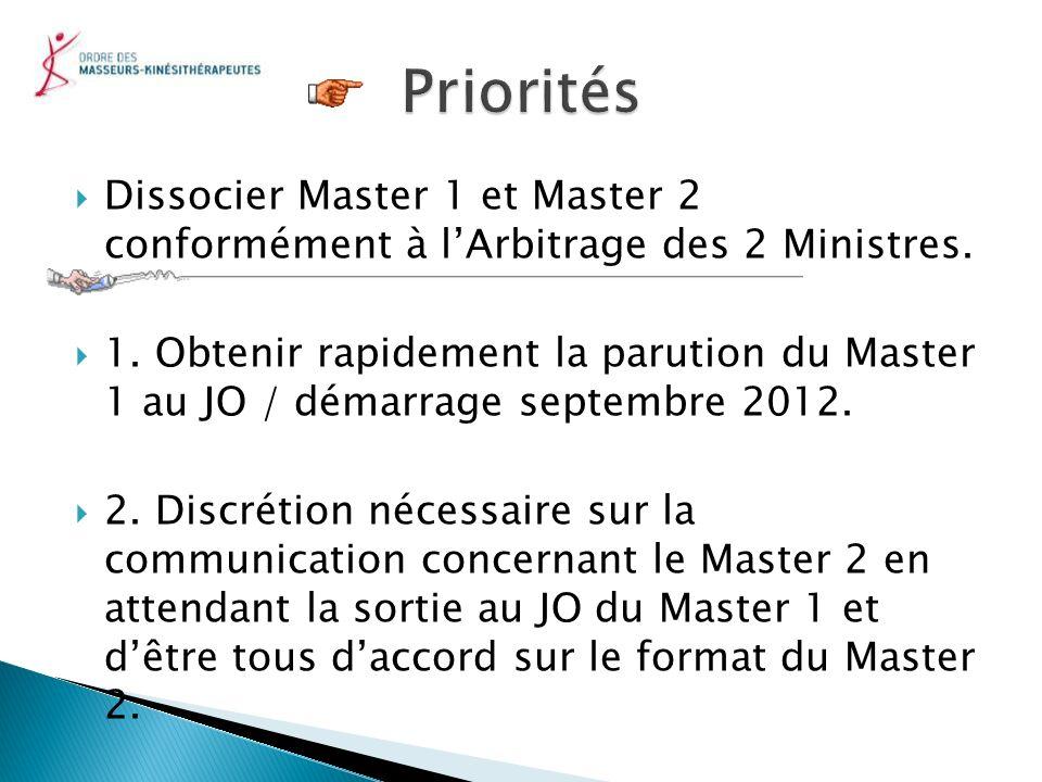 Dissocier Master 1 et Master 2 conformément à lArbitrage des 2 Ministres. 1. Obtenir rapidement la parution du Master 1 au JO / démarrage septembre 20