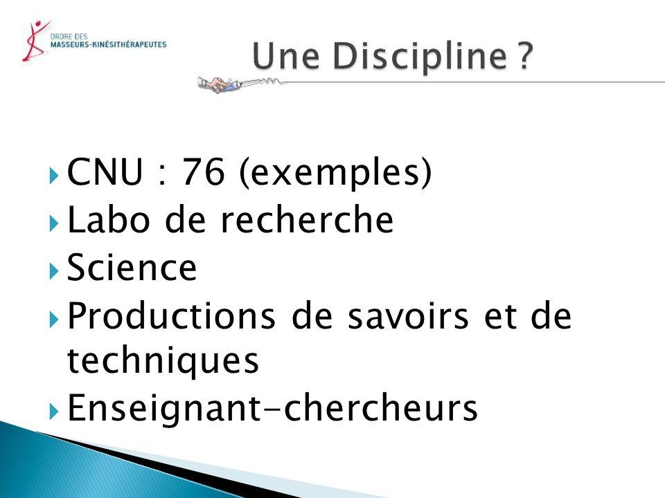 CNU : 76 (exemples) Labo de recherche Science Productions de savoirs et de techniques Enseignant-chercheurs