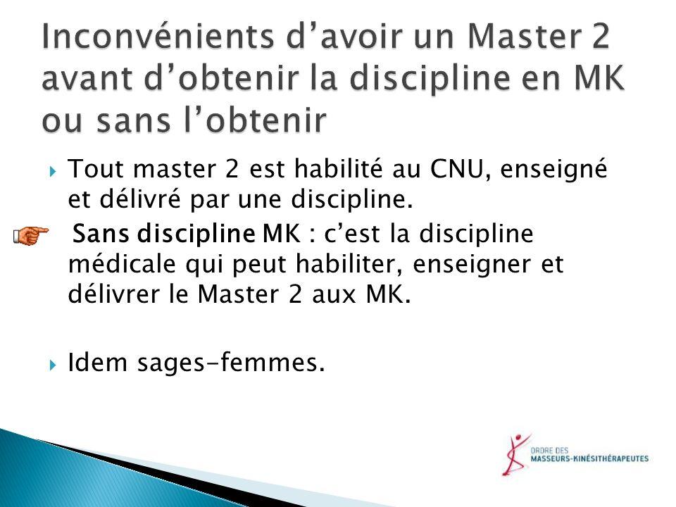 Tout master 2 est habilité au CNU, enseigné et délivré par une discipline. Sans discipline MK : cest la discipline médicale qui peut habiliter, enseig