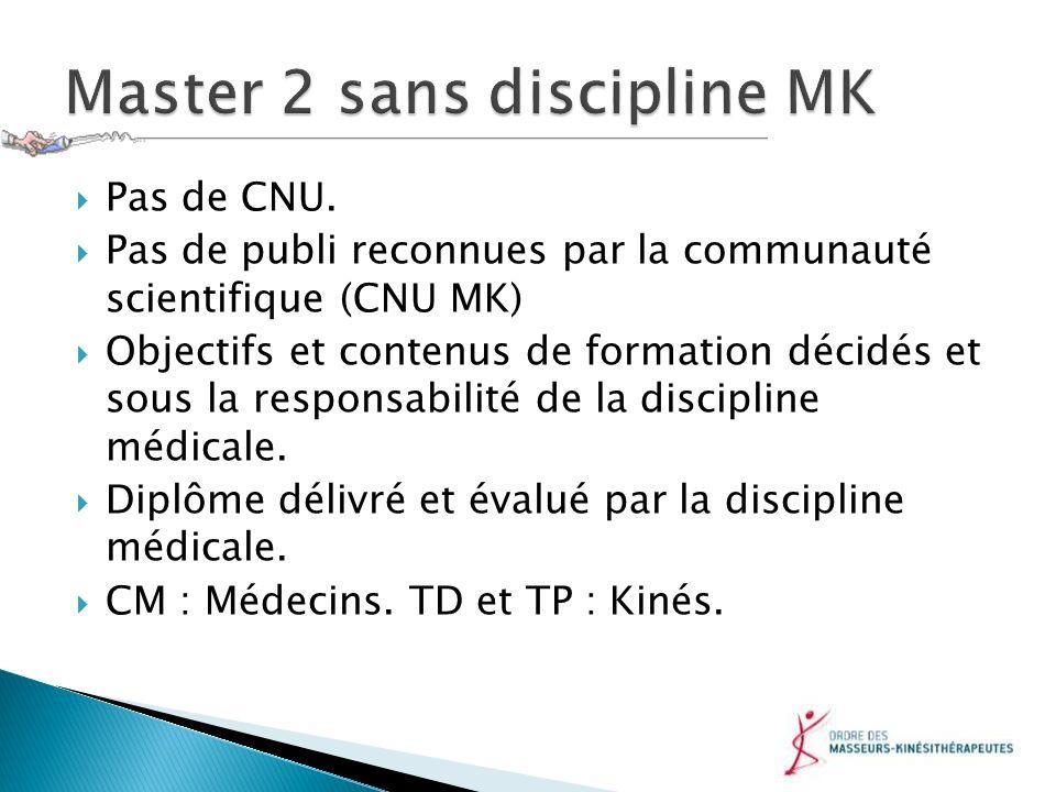 Pas de CNU. Pas de publi reconnues par la communauté scientifique (CNU MK) Objectifs et contenus de formation décidés et sous la responsabilité de la