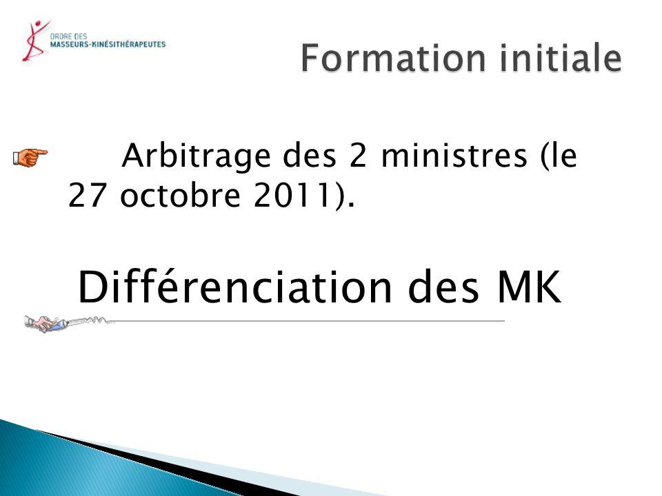 Arbitrage des 2 ministres (le 27 octobre 2011). Différenciation des MK