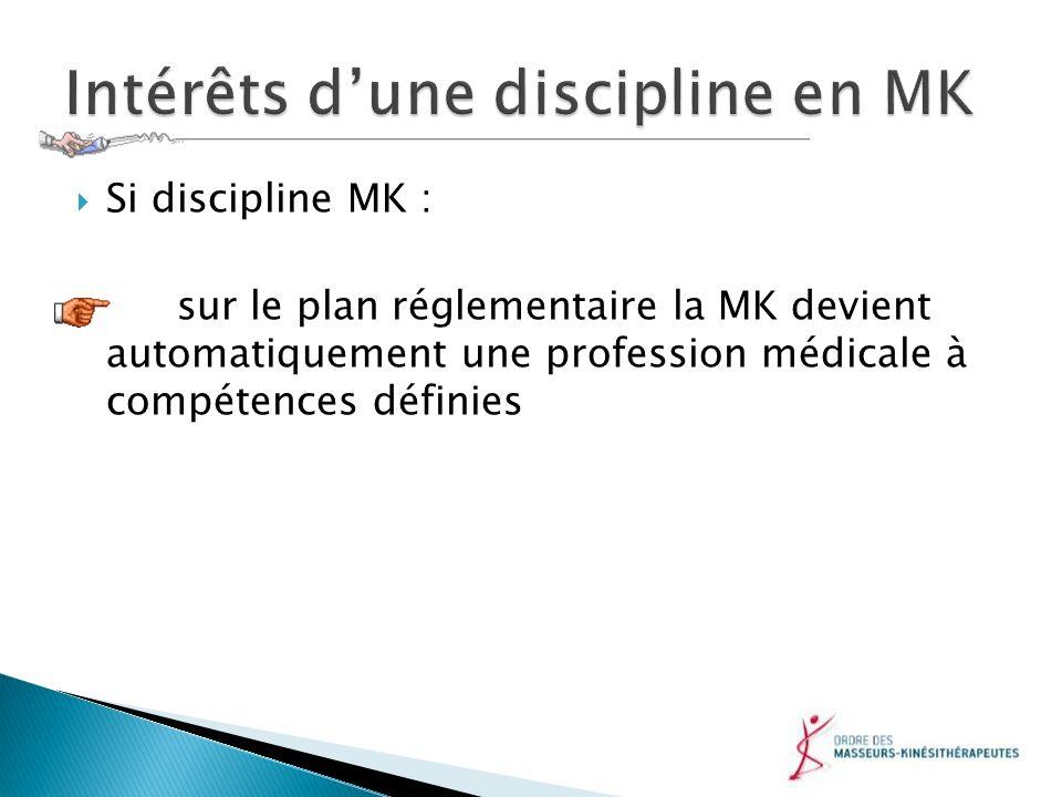 Si discipline MK : sur le plan réglementaire la MK devient automatiquement une profession médicale à compétences définies