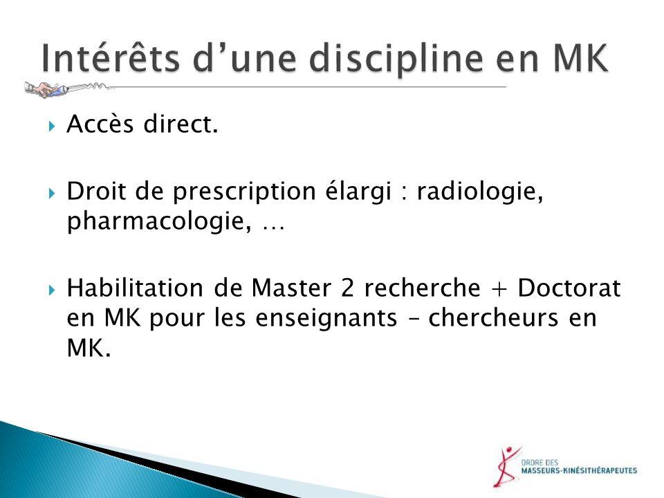 Accès direct. Droit de prescription élargi : radiologie, pharmacologie, … Habilitation de Master 2 recherche + Doctorat en MK pour les enseignants – c