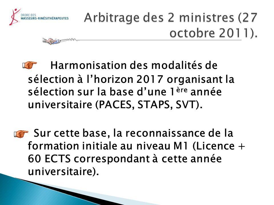 Harmonisation des modalités de sélection à lhorizon 2017 organisant la sélection sur la base dune 1 ère année universitaire (PACES, STAPS, SVT). Sur c