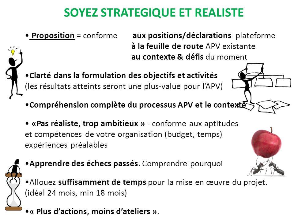 SOYEZ STRATEGIQUE ET REALISTE Proposition = conforme aux positions/déclarations plateforme à la feuille de route APV existante au contexte & défis du
