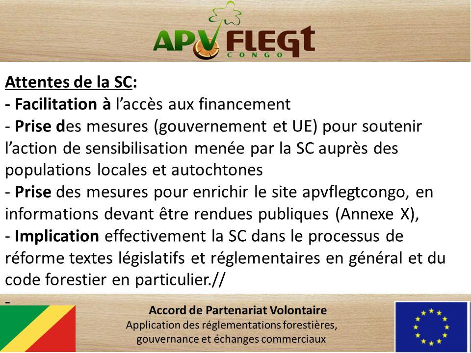 Attentes de la SC: - Facilitation à laccès aux financement - Prise des mesures (gouvernement et UE) pour soutenir laction de sensibilisation menée par la SC auprès des populations locales et autochtones - Prise des mesures pour enrichir le site apvflegtcongo, en informations devant être rendues publiques (Annexe X), - Implication effectivement la SC dans le processus de réforme textes législatifs et réglementaires en général et du code forestier en particulier.// -
