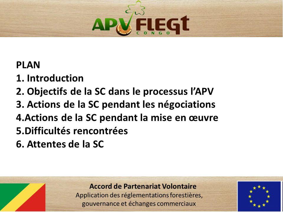 PLAN 1. Introduction 2. Objectifs de la SC dans le processus lAPV 3. Actions de la SC pendant les négociations 4.Actions de la SC pendant la mise en œ