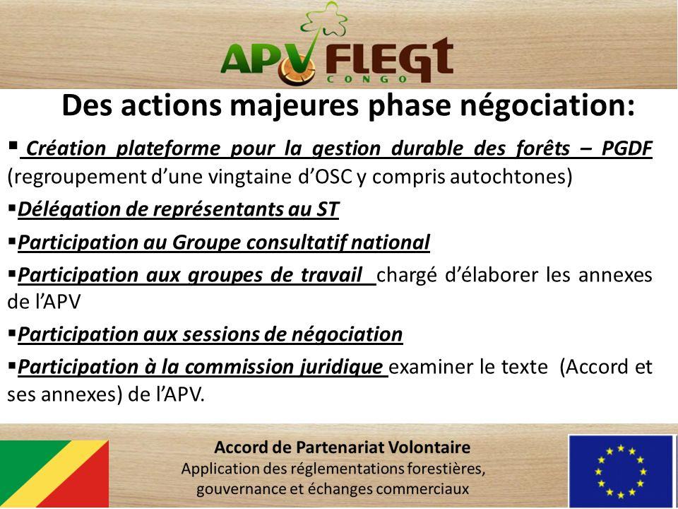 Des actions majeures phase négociation: Création plateforme pour la gestion durable des forêts – PGDF (regroupement dune vingtaine dOSC y compris auto