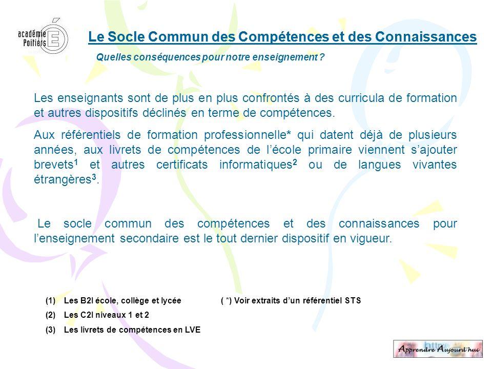 Le Socle Commun des Compétences et des Connaissances Quelles conséquences pour notre enseignement ? Les enseignants sont de plus en plus confrontés à