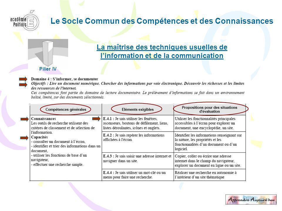 Le Socle Commun des Compétences et des Connaissances La maîtrise des techniques usuelles de linformation et de la communication Pilier IV