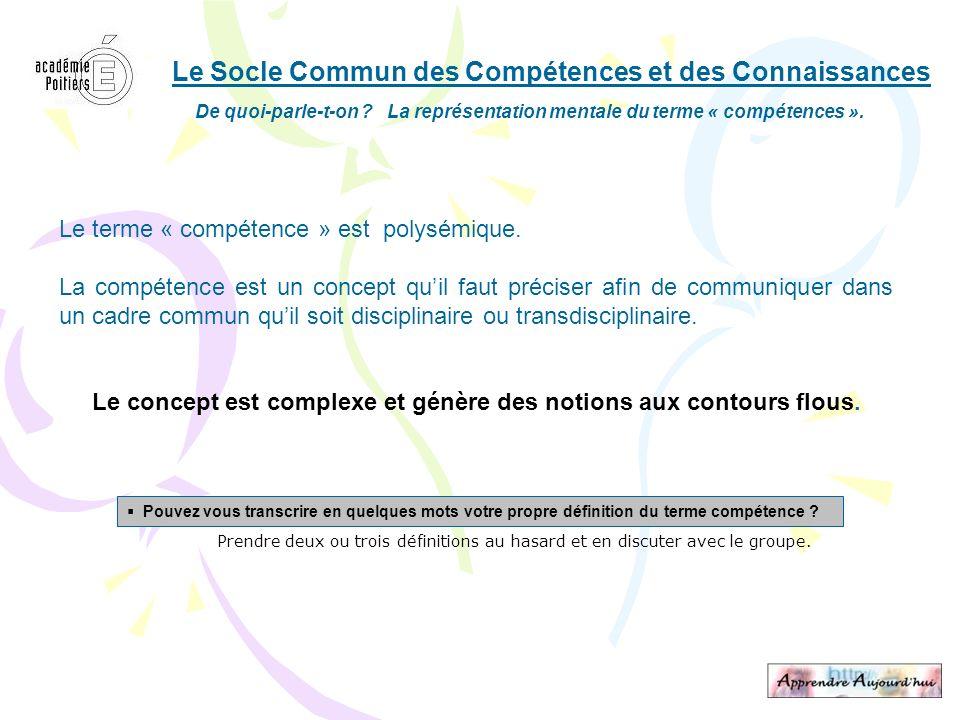 Le Socle Commun des Compétences et des Connaissances De quoi-parle-t-on ? La représentation mentale du terme « compétences ». Le terme « compétence »