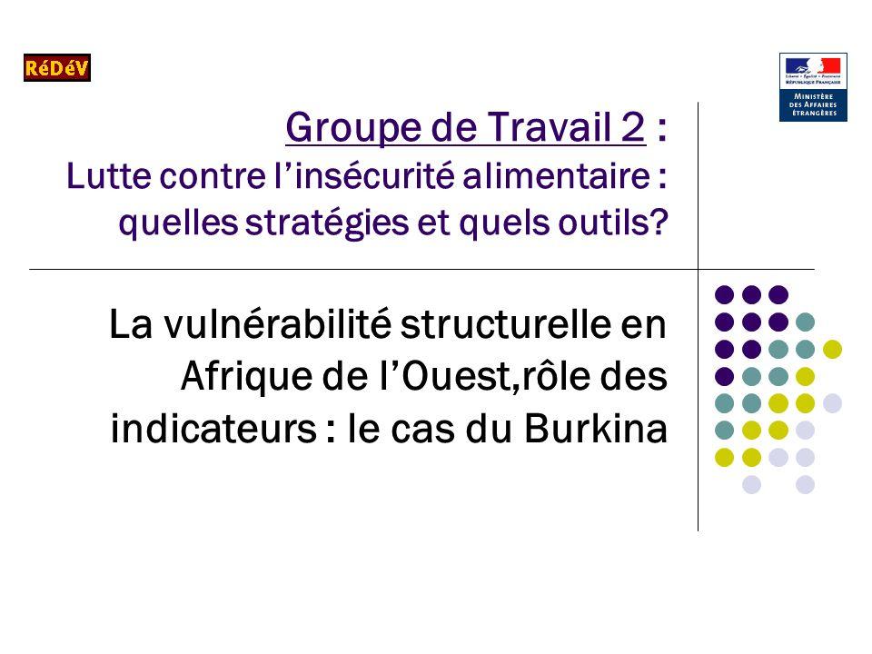 Groupe de Travail 2 : Lutte contre linsécurité alimentaire : quelles stratégies et quels outils? La vulnérabilité structurelle en Afrique de lOuest,rô