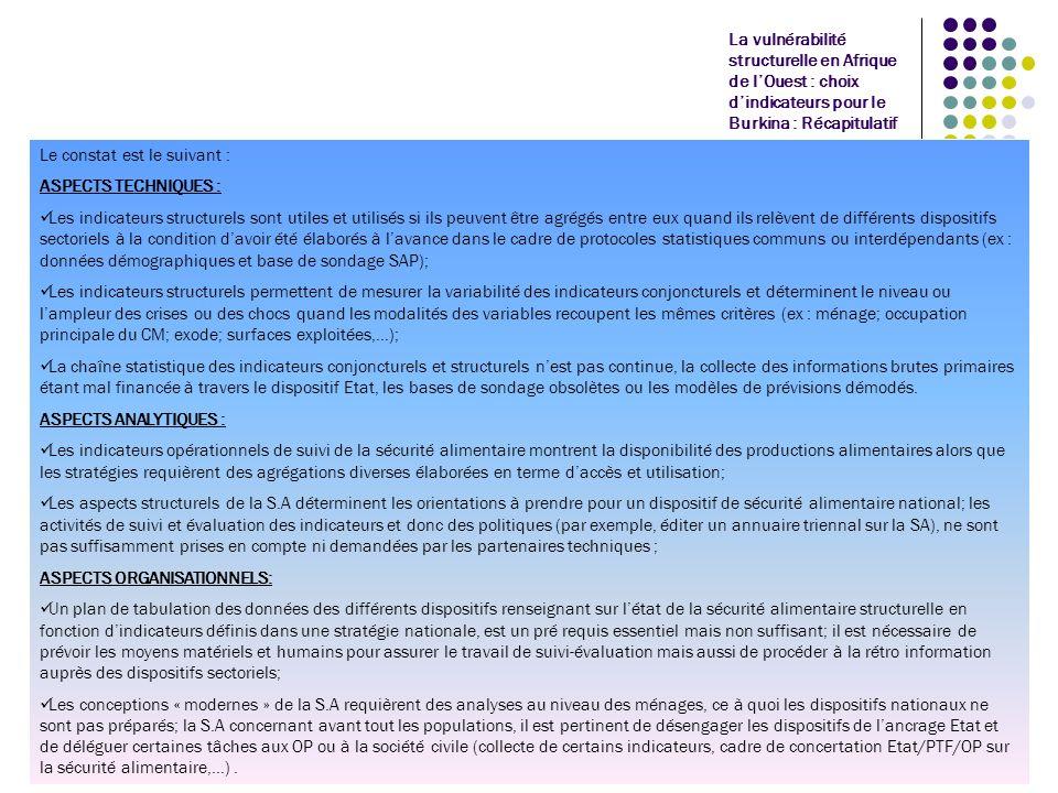 La vulnérabilité structurelle en Afrique de lOuest : choix dindicateurs pour le Burkina : Actions en cours de réalisation CE QUI A ETE FAIT AU BURKINA par le FSP PAMIR/sécurité alimentaire: Contribution à lélaboration dun plan daction sur linformation sécurité alimentaire, basé sur les dispositifs existants; une centrale dinformation pourra contractualiser les dispositifs sans « privatiser » la collecte des données; elle assurera la le traitement des informations tant conjoncturelles que structurelles; Appui au suivi des indicateurs de la stratégie nationale de sécurité alimentaire : compétences à développer et nécessité absolue de les produire (p.e, indicateurs du Millenium) Contribution aux agrégations multiples intégrant les variables qui caractérisent ce que lon cherche à savoir outre la disponibilité alimentaire, laccès et lutilisation aux aliments: intégration des données sanito-nutritionnelles dans le cadre de lenquête permanente agricole (EPA), publication de rapports sur les déterminants de la vulnérabilité alimentaire,… Intégration des OP dans le dispositif de réponse aux crises : audit institutionnel du dispositif et des OP en vue dune meilleure participation de ces dernières.