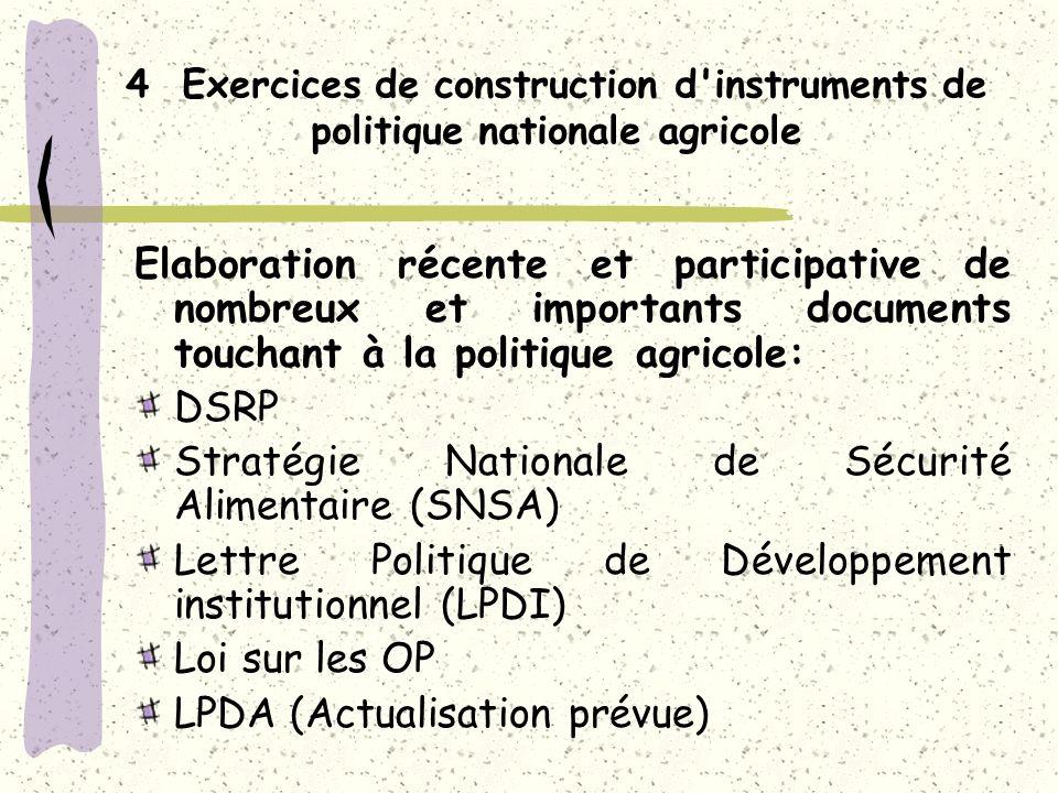4 Exercices de construction d instruments de politique nationale agricole Elaboration récente et participative de nombreux et importants documents touchant à la politique agricole: DSRP Stratégie Nationale de Sécurité Alimentaire (SNSA) Lettre Politique de Développement institutionnel (LPDI) Loi sur les OP LPDA (Actualisation prévue)
