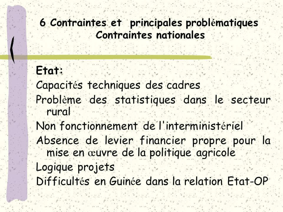5 Stratégie Nationale de Sécurité Alimentaire (SNSA) ( a) Pr é sentation plan de r é alisation de l é tude CP Nov 02 ; (b) Elaboration documents Diagnostic et Axes strat é giques (D é c 02) ; (c) Pr é sentation en ateliers r é gionaux en mars 2003 ; (d) Pr é sentation au CP pour validation le 20 mars 2003 ; (e) Organisation groupes de travail pr é paration des plans d actions (mai 2003) ; (f) R é daction du plan d actions (mai – juin 2003) ; (g) Pr é sentation et validation du plan d actions en CP juin 03; (h) Pr é sentation et validation des plans d actions en ateliers r é gionaux (juin 03) ; (i) Validation en atelier national le 15 octobre 2003