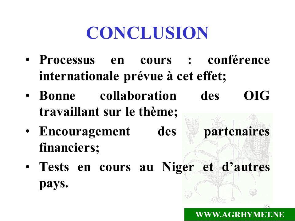 WWW.AGRHYMET.NE 25 CONCLUSION Processus en cours : conférence internationale prévue à cet effet; Bonne collaboration des OIG travaillant sur le thème;