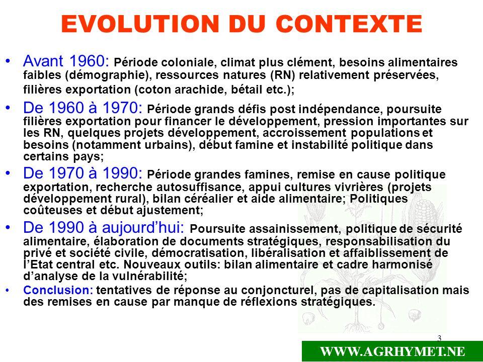 WWW.AGRHYMET.NE 3 EVOLUTION DU CONTEXTE Avant 1960: Période coloniale, climat plus clément, besoins alimentaires faibles (démographie), ressources nat
