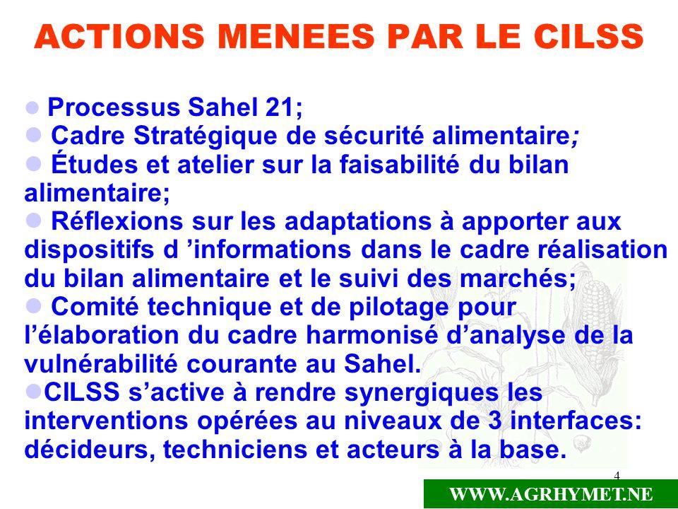 WWW.AGRHYMET.NE 4 ACTIONS MENEES PAR LE CILSS Processus Sahel 21; Cadre Stratégique de sécurité alimentaire; Études et atelier sur la faisabilité du b