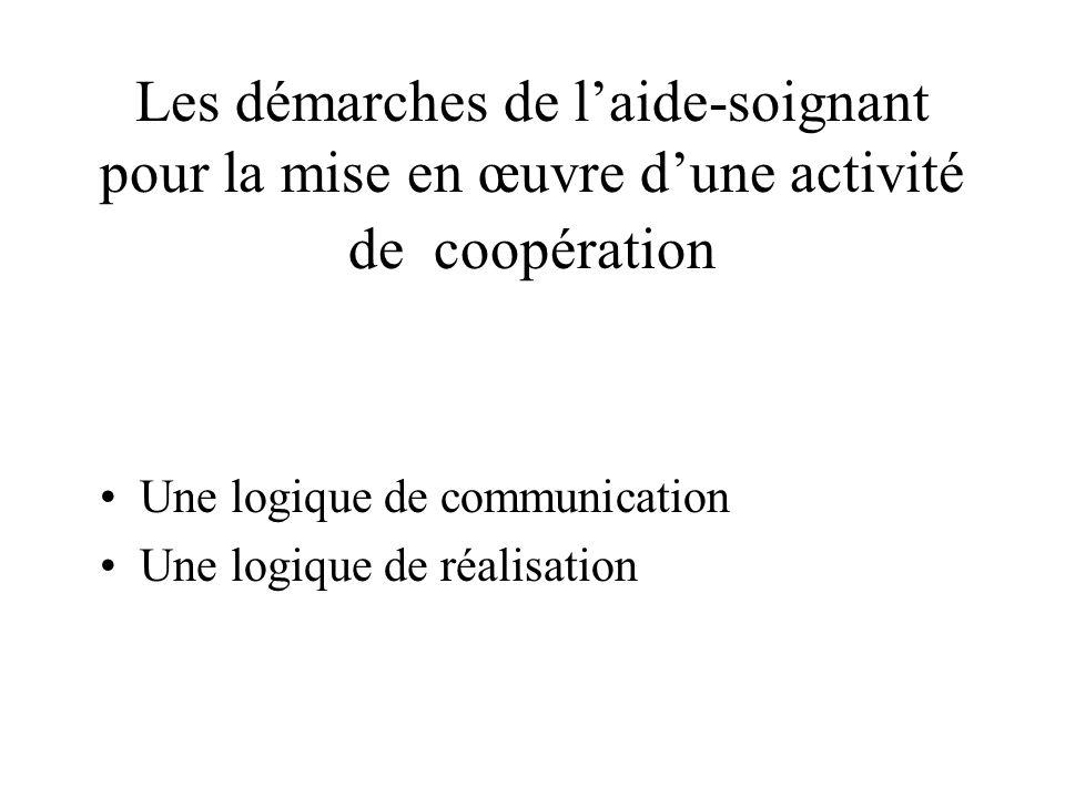 Les démarches de laide-soignant pour la mise en œuvre dune activité de coopération Une logique de communication Une logique de réalisation