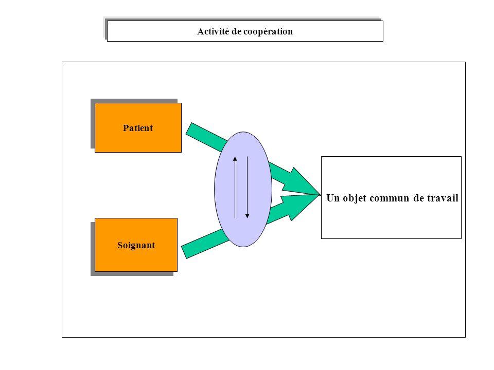 Activité de coopération Patient Soignant Un objet commun de travail
