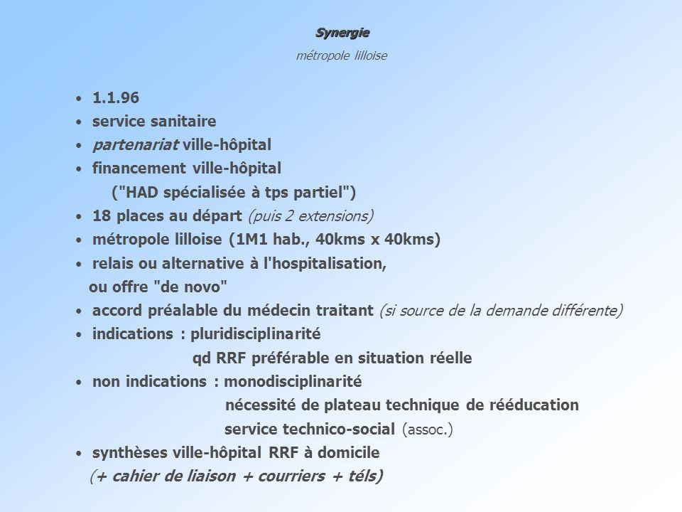 Synergie métropole lilloise 1.1.96 service sanitaire partenariat ville-hôpital financement ville-hôpital (
