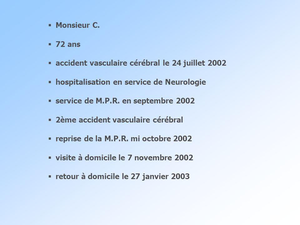 Monsieur C. 72 ans accident vasculaire cérébral le 24 juillet 2002 hospitalisation en service de Neurologie service de M.P.R. en septembre 2002 2ème a