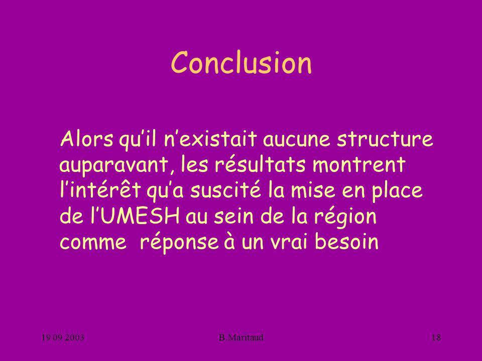 19 09 2003B.Maritaud18 Conclusion Alors quil nexistait aucune structure auparavant, les résultats montrent lintérêt qua suscité la mise en place de lU