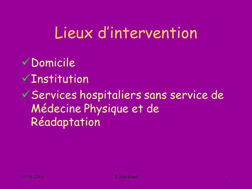 19 09 2003B.Maritaud5 Lieux dintervention Domicile Institution Services hospitaliers sans service de Médecine Physique et de Réadaptation