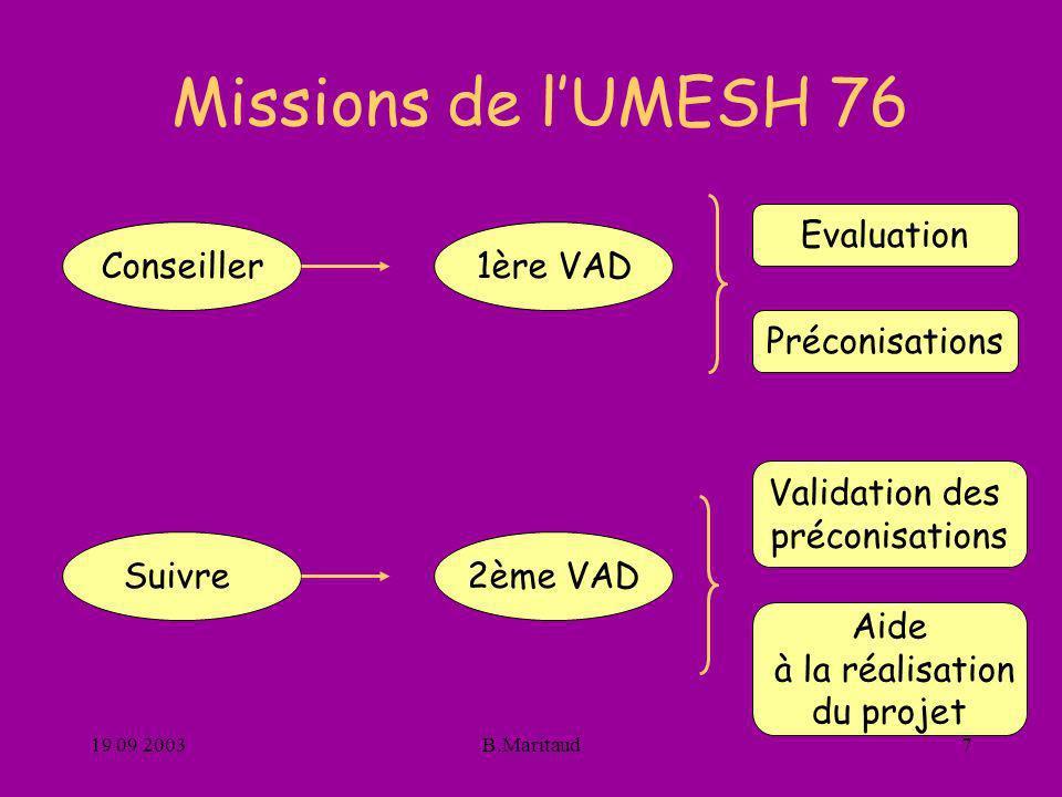 19 09 2003B.Maritaud7 Missions de lUMESH 76 Conseiller 2ème VAD 1ère VAD Suivre Evaluation Préconisations Validation des préconisations Aide à la réal