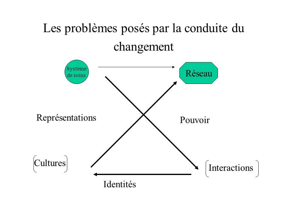 Les problèmes posés par la conduite du changement Système de soins Réseau Pouvoir Identités Représentations Interactions Cultures