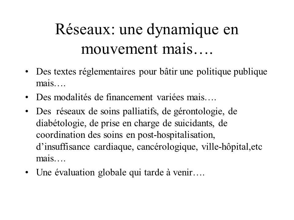 Réseaux: une dynamique en mouvement mais…. Des textes réglementaires pour bâtir une politique publique mais…. Des modalités de financement variées mai