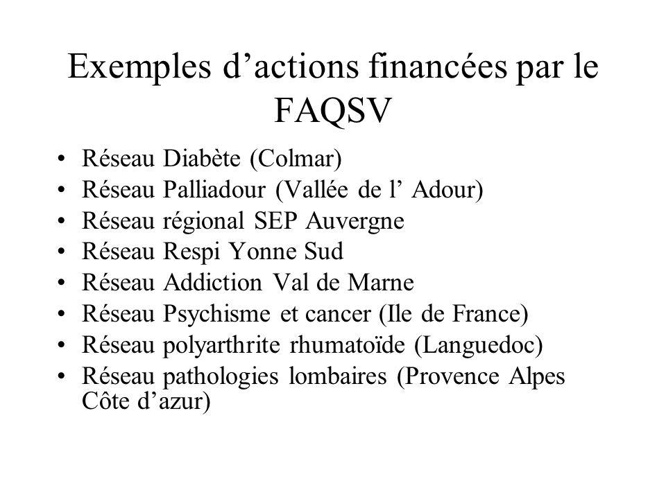 Exemples dactions financées par le FAQSV Réseau Diabète (Colmar) Réseau Palliadour (Vallée de l Adour) Réseau régional SEP Auvergne Réseau Respi Yonne