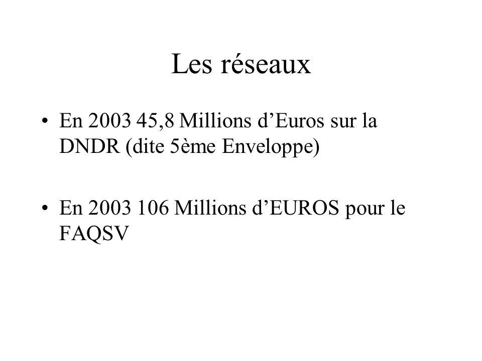Les réseaux En 2003 45,8 Millions dEuros sur la DNDR (dite 5ème Enveloppe) En 2003 106 Millions dEUROS pour le FAQSV
