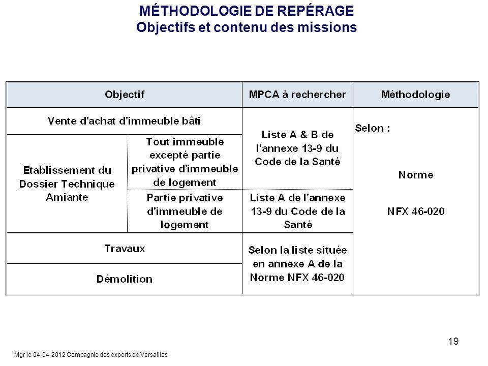MÉTHODOLOGIE DE REPÉRAGE Objectifs et contenu des missions Mgr le 04-04-2012 Compagnie des experts de Versailles 19
