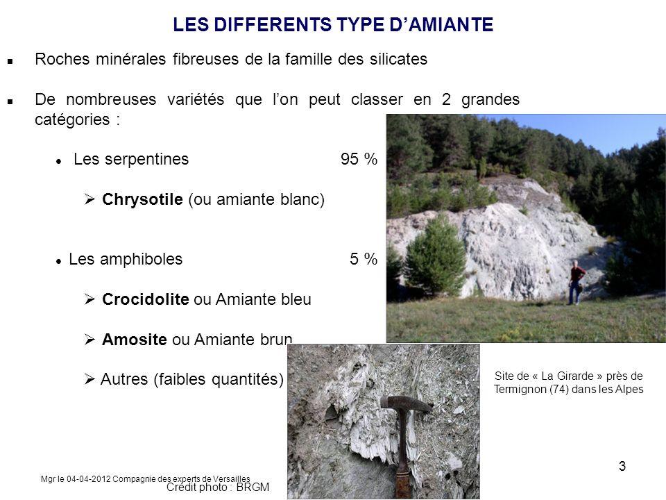 Roches minérales fibreuses de la famille des silicates De nombreuses variétés que lon peut classer en 2 grandes catégories : Les serpentines 95 % Chry