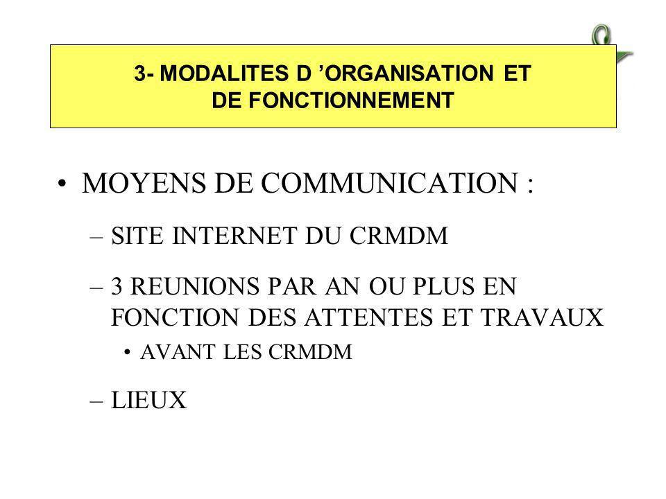 MOYENS DE COMMUNICATION : –SITE INTERNET DU CRMDM –3 REUNIONS PAR AN OU PLUS EN FONCTION DES ATTENTES ET TRAVAUX AVANT LES CRMDM –LIEUX 3- MODALITES D ORGANISATION ET DE FONCTIONNEMENT