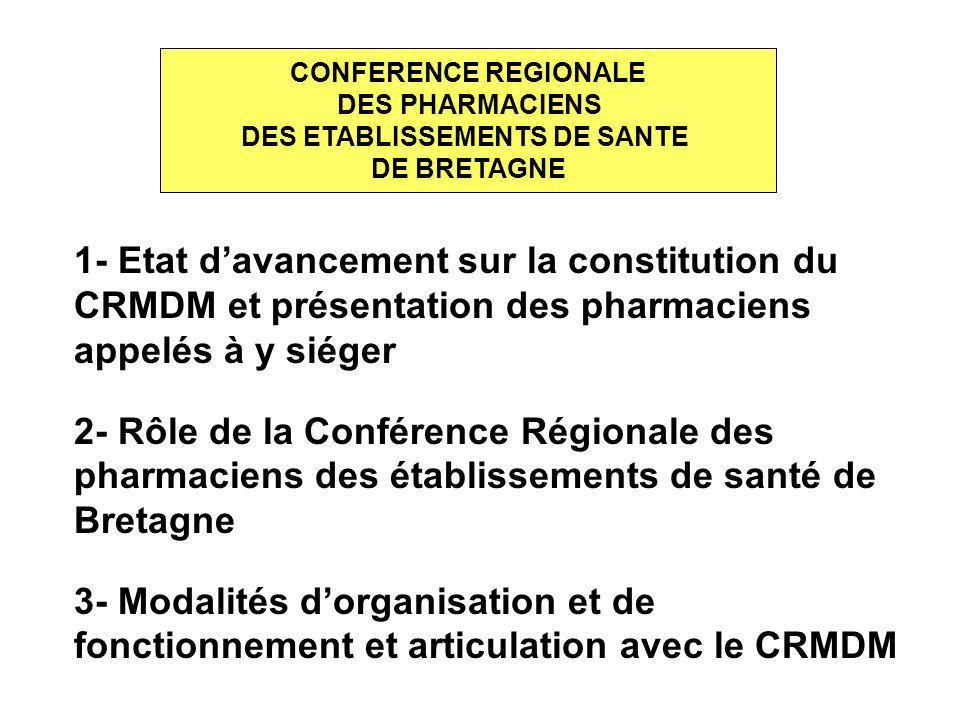 3- MODALITES D ORGANISATION ET DE FONCTIONNEMENT CONFERENCE REGIONALE DES PHARMACIENS DES ETABLISSEMENTS DE SANTE DE BRETAGNE