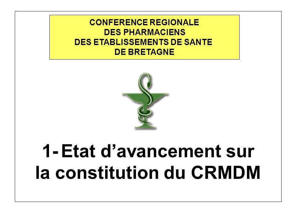 1- Etat davancement sur la constitution du CRMDM CONFERENCE REGIONALE DES PHARMACIENS DES ETABLISSEMENTS DE SANTE DE BRETAGNE