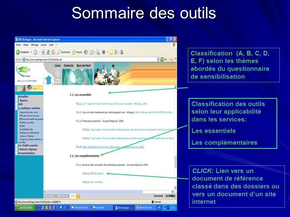 Sommaire des outils CLICK: Lien vers un document de référence classé dans des dossiers ou vers un document dun site internet Classification (A, B, C,
