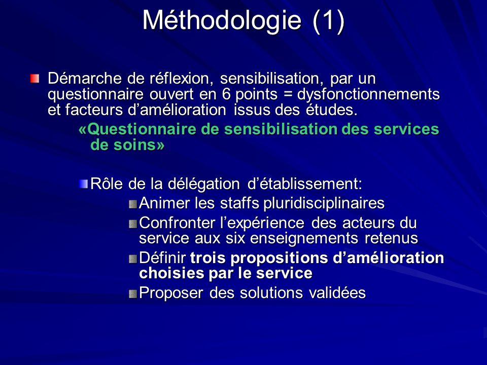 Méthodologie (1) Démarche de réflexion, sensibilisation, par un questionnaire ouvert en 6 points = dysfonctionnements et facteurs damélioration issus