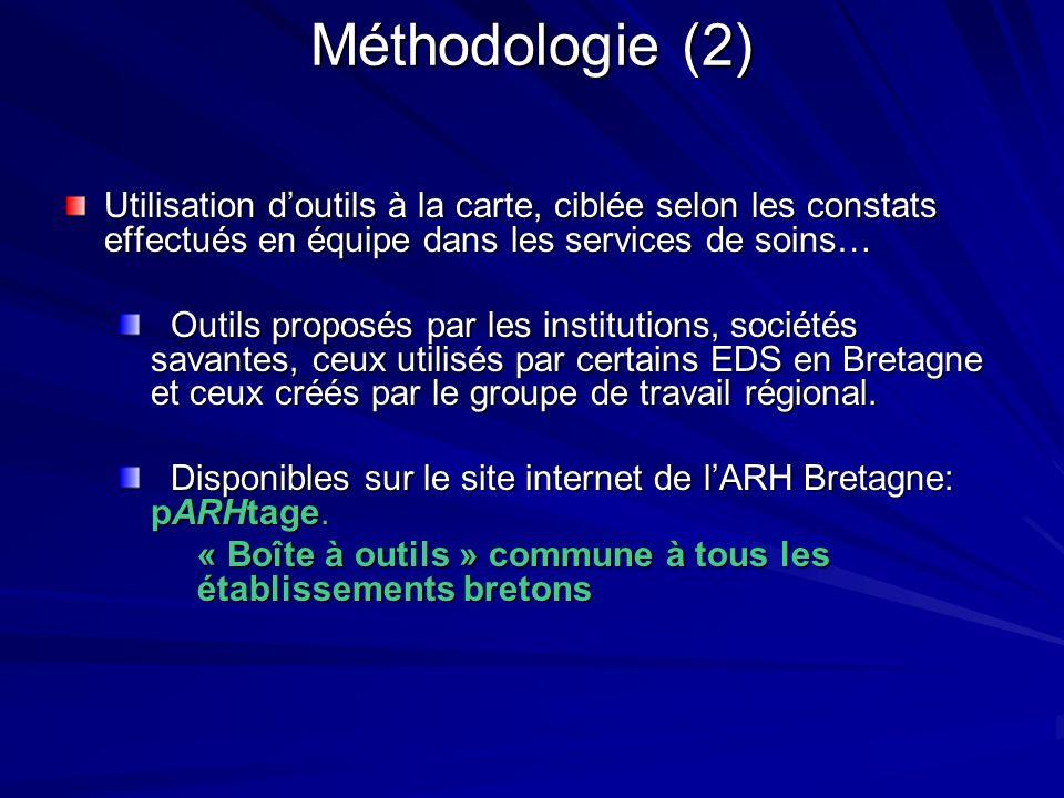 Méthodologie (2) Utilisation doutils à la carte, ciblée selon les constats effectués en équipe dans les services de soins… Outils proposés par les ins