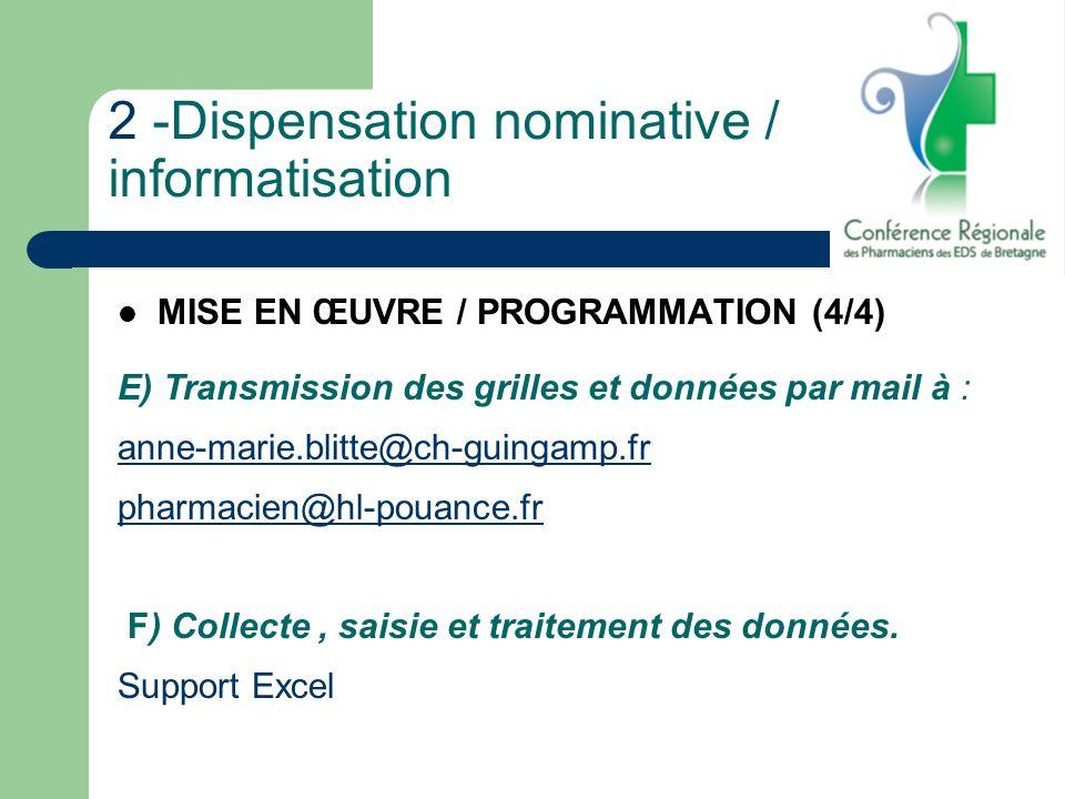 2 -Dispensation nominative / informatisation MISE EN ŒUVRE / PROGRAMMATION (4/4) E) Transmission des grilles et données par mail à : anne-marie.blitte