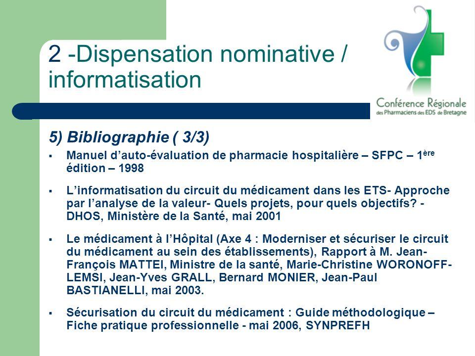 2 -Dispensation nominative / informatisation 5) Bibliographie ( 3/3) Manuel dauto-évaluation de pharmacie hospitalière – SFPC – 1 ère édition – 1998 L